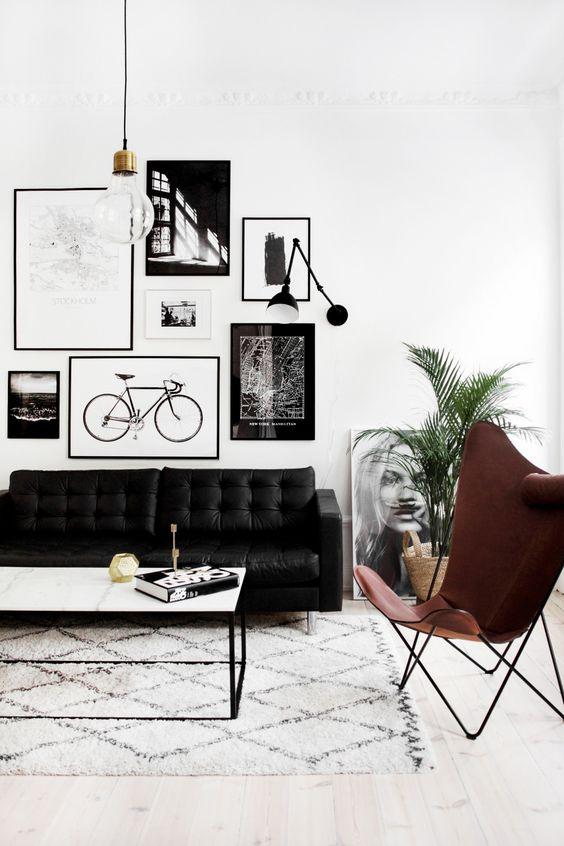 monochrome interior design living room