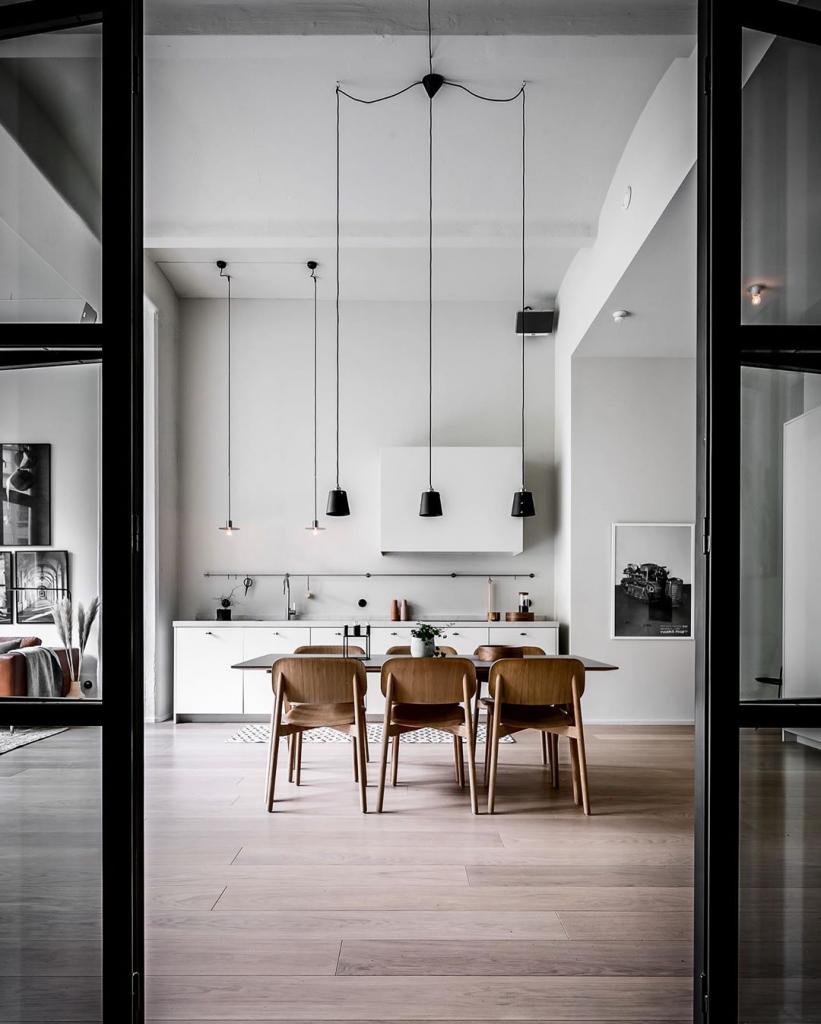 monochrome interior design kitchen