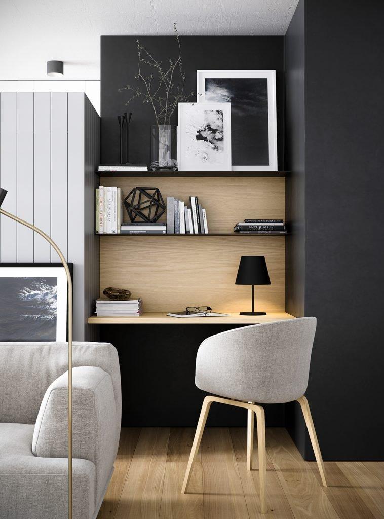 monochrome interior design home office