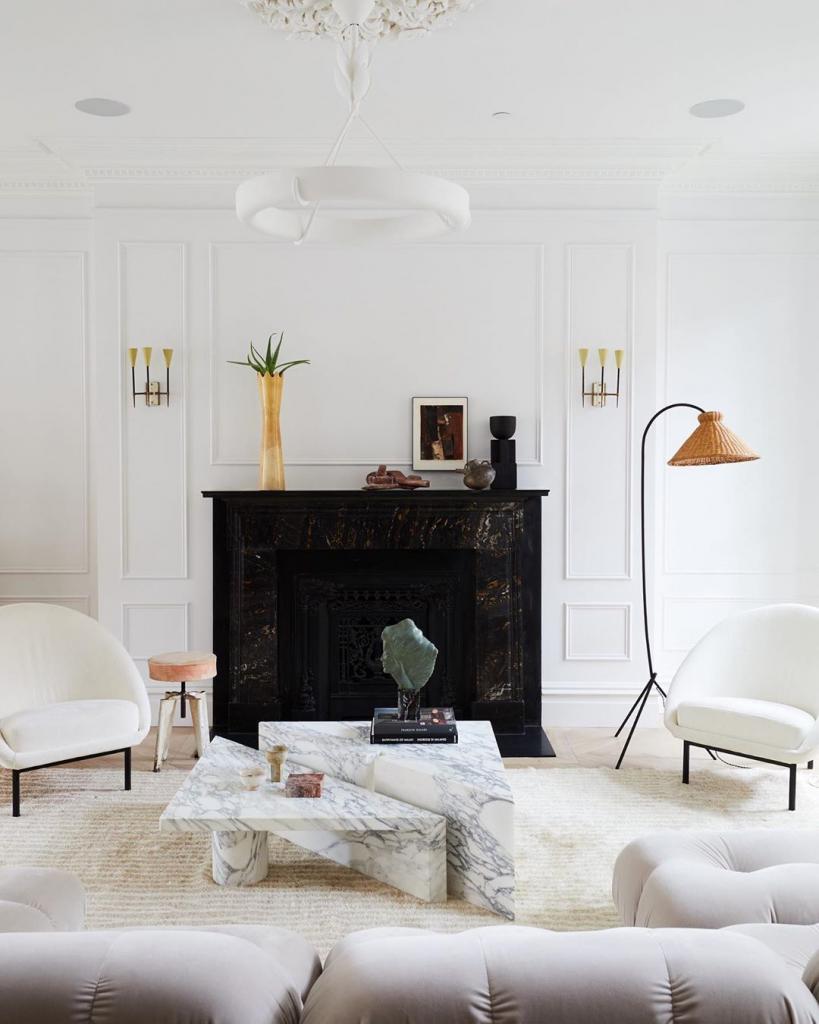 monochrome interior design lounge room