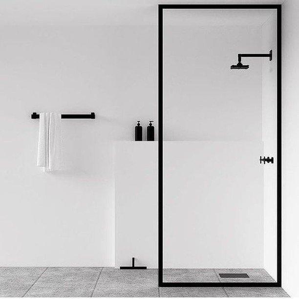 monochrome interior design bathroom shower